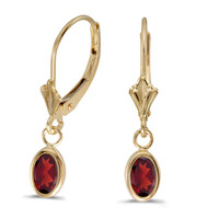 14K Yellow Gold Oval Garnet Bezel Lever-back Earrings (1ct tgw)