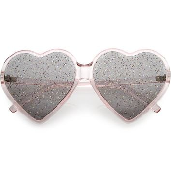 Women's Oversize Novelty Heart Shape Glitter Lens Sunglasses C876