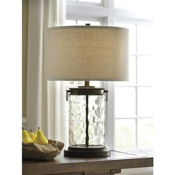 L430324 Tailynn Glass Table Lamp (1/CN) - Clear/Bronze Finish - Free Shipping!