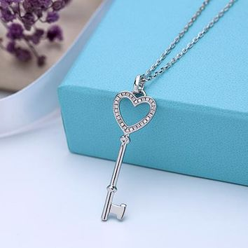 Tiffany New Heart Heart Necklace 925 sterling silver high quality chain length 40+5