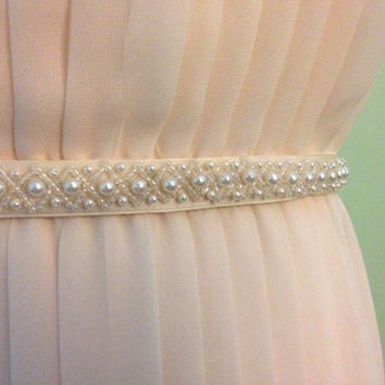 Delicate Handmade Lattice Ivory Pearl Satin Ribbon Bridal Sash