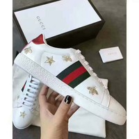 Gucci:Trending Fashion Casual Sports Shoes white Stripe+Bee print H-CSXYQGCZDL-CY