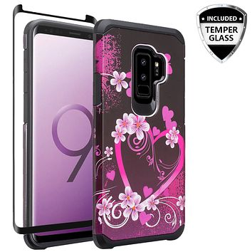 Samsung Galaxy S9 Plus Case, SM-G965U Case, [Include Temper Glass Screen Protector] Slim Hybrid Dual Layer [Shock Resistant] Case for Galaxy S9 Plus - Heart Butterflies
