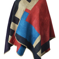 Contrast Color Basic Poncho Coat - Choies.com