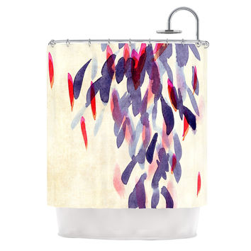 "Iris Lehnhardt ""Abstract Leaves IV"" Tan Purple Shower Curtain"