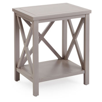 Lucas Cross-Back End Table, Taupe, Standard Side Tables