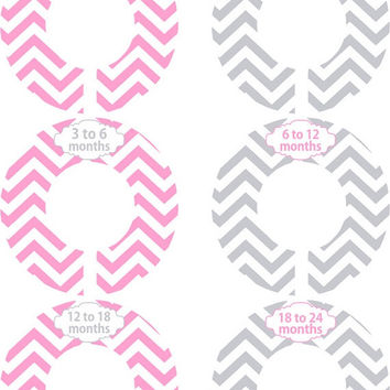 Custom Baby Closet Dividers Pink and Gray Chevron Closet Dividers Baby Shower Gift Baby Clothes Organizers Baby 322
