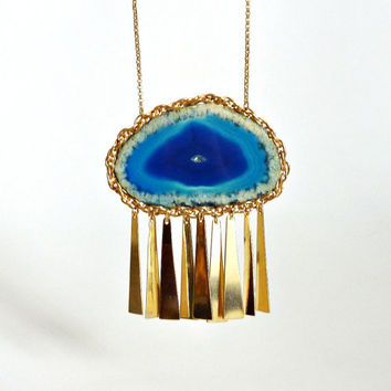 Stargate. A Cobalt Blue Geode Druzy Statement Necklace & Possible Portal into Other Dimensions.