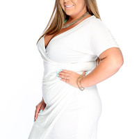 Sexy White V-neck Pleated Short Sleeve Bodycon Plus Size Party Dress