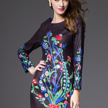 Black Floral Print Long Sleeve Mini Bodycon Dress