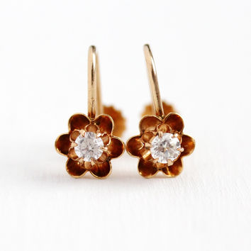 Sale - Vintage Zircon Earrings - 14k Rosy Yellow Gold Genuine .44 CTW White Gem Clip Ons - Art Deco Screw Back Buttercup Flower Fine Jewelry