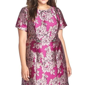 Plus Size Women's Adrianna Papell Embellished Waist Tab Metallic Jacquard Dress,