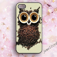 Coffee Owl iPhone Case,creative coffee iPhone 5/5s Case,Owl iPhone 4/4s Case,animal iPhone 5c Case,coffee beans samsung galaxy s3 s4 s5 case