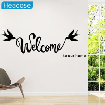 Stickers Muraux 'Welcome To Our/My Home' Text Patterns Wall Stickers Home Decor Living Room wallpaper bedroom Decorative Poster