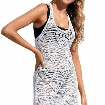 Cover ups Bikini Hollow White Geometric Crochet Beach Swim Cover up Wrap Bathing Suit Beachwear Cover Up Black Cutout  tank dress KO_13_1
