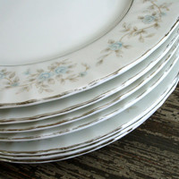 Vintage M Japan China 3560 Camelot Pattern, 7 Salad Plates, Blue and Gray Roses, Silver Edge, Scalloped Rim, Signed, Collectible Plates