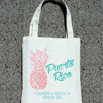 Destination Beach Wedding Retro Pineapple Personalized Bags- Wedding Welcome Tote Bag