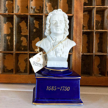 Schmid Japan, Japan Music Box, Bach Head Bust, Bach Music Box, Schmid Music Box, Collectible Japan, Schmid Bros Music Box, White Elephant