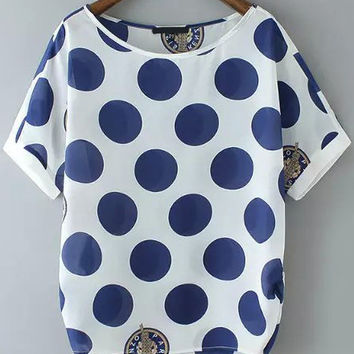 Blue and White Polka Dot Top