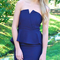 Stay Classic Navy Peplum Dress