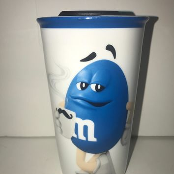 M&M's World Green Character Ceramic Tumbler New