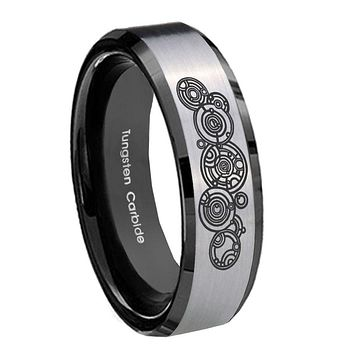 10mm Doctor Who Beveled Edges Brushed Silver Black Tungsten Mens Promise Ring