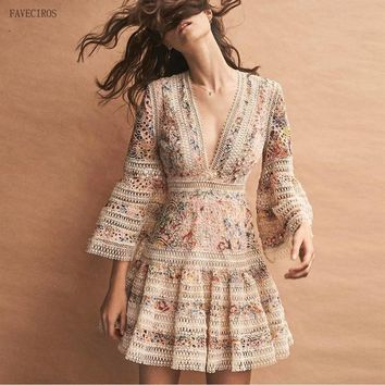 High Quality Luxury Brand New Fashion Designer Runway Dress Flare Sleeve V-neck Hollow Out Embroidery Dress Elegant Vestido