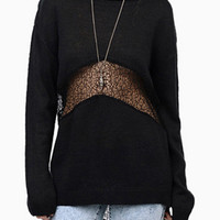 Black Lace Insert Dipped Back Boyfriend Sweater