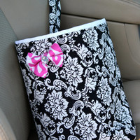 Car Trash Bag BLACK & WHITE DAMASK with Pink Zebra Bow, Gifts, Car Litter Bag, Auto Accessories, Car Organizer, Girl Gifts, Trendy, Totes