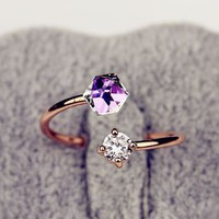 Crystal And Rhinestone Cuff Ring (Open End)