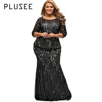 Plusee Plus Size Lace Dress Women Bodycon Sexy Round Neck Autumn Party Gown Ankle-Length Dress
