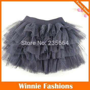 Winniefashions Factory new 2014 Black Color Cotton Tulle Skirt Baby Girl Skirts Toddler Kids Skirts 3-12years Free Shipping