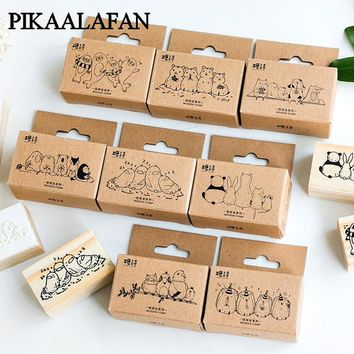PIKAALAFAN Lovely Row Series Boxes Wood Stamp Scrapbook DIY Photo Album Card Decoration Craft Wooden Rubber  Stamp Toy