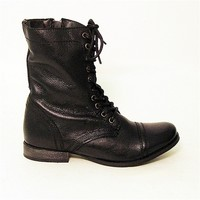 Steve Madden Troopa - Black Leather Flat Combat Boot