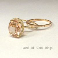 Reserved mugzee2,Oval Morganite Engagement Ring and Two diamond Mathcing Band 14K Yellow Gold