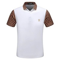 LV New Fashion Shirt Louis Vuitton Men Top Shirt Contrast Tartan Sleeve Neck Button Tee Shirt Black