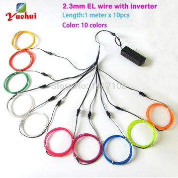 With toys ,craft, clothing, party decoration 2.3mm 1Meter x 10pieces multicolor flexible el wire Electroluminescent neno light