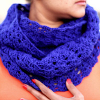 Blue Infinity Scarf, Chunky Cowl Scarf, Circle Scarf, warm scarf, winter knitted scarf ,unisex scarf,scarf ring,tube scarf, loop scarf,