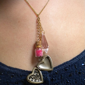 Love Potion Vial w/ Heart Locket Charm by SwartzbergBazaar on Etsy