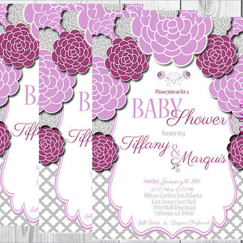 Elegant Purple & Gray Floral Baby Shower Invitation