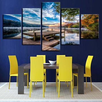 5 Panel Dock Lake Landscape Forest Sky Mountain Wall Art on Canvas Print