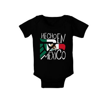 Hecho en Mexico Design - Mexican Flag Baby Bodysuit Dark by TooLoud