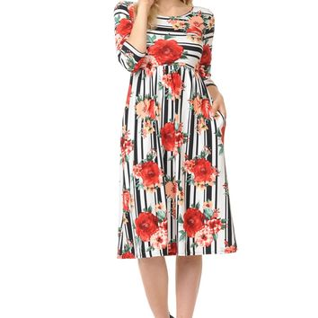 Fit and Flare Midi Dress with Pockets Floral