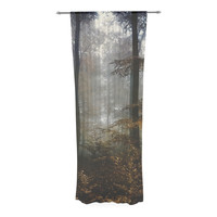 "Iris Lehnhardt ""Forest Mystics"" Brown Gray Decorative Sheer Curtain"