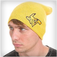 Pikachu Marled Yellow Slouch Beanie Hat - Spencer's
