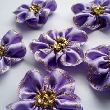 Handmade Hyacinth Ribbon Flower Appliques Embellishments (6pcs)