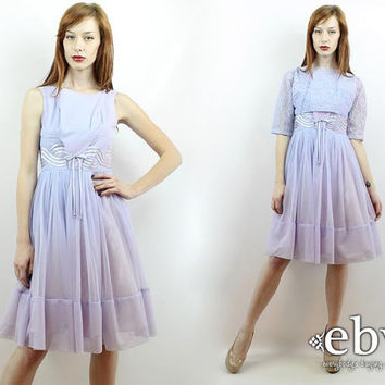 Vintage 50s Lavender Lace Party Dress XS S Prom Dress Cocktail Dress 50s Party Dress 50s Dress Lavender Dress 1950s Dress