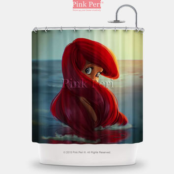 Ariel Disney Princess fan Art Painting Shower Curtain Free shipping Home 127