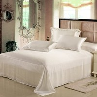 Seamless 25 Momme Luxury Mulberry Silk Sheets Set,Silk Bedding Set (King, Ivory)