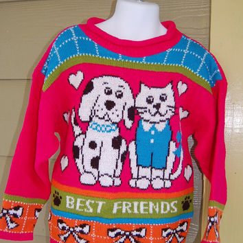 Vintage 80s Basic Editions Cat & Dog Best Friends Hot Pink Sweater Jumper Bows Hearts Paw Prints Size 4/5